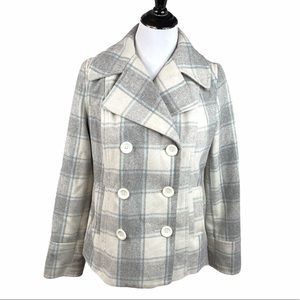 Old Navy Plaid Peacoat, Gray, Blue, Medium